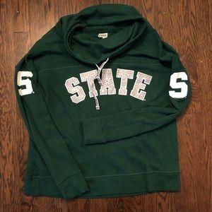 PINK MSU cowlneck sweatshirt, medium